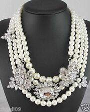 Newest Design huge Lady Statement Clear crystal chunky chain charm necklace q983