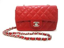 Auth CHANEL Mini Matelasse A65055 Red Caviar Skin Shoulder Bag