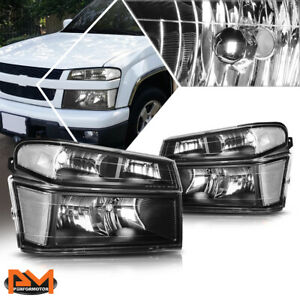 For 04-12 Chevy Colorado/GMC Canyon Bumper Headlight/lamps Clear Corner Black
