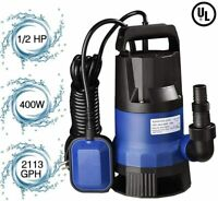 1/2 HP 400W Blue Electric Submersible WateR Swimming Pool Dirty Flood Sump Pump