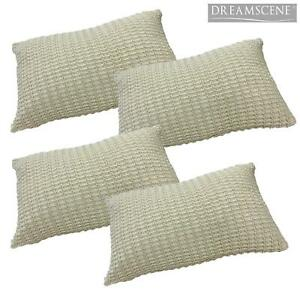Pack of 4 Luxuriously Soft Knitted Cushion Cover Unfilled, 30 x 50cm - Biscuit