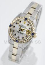 Rolex Ladies Datejust 18K Gold & Steel MOP Sapphire Diamond Dial & Bezel Oyster