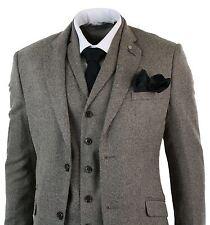 Mens Tan Brown Herringbone Tweed 3 Piece Tailored Fit Suit Classic Retro Vintage
