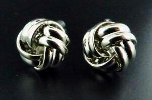 Silvertone Bright Finish Knot Formal Wedding Cufflinks