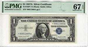1957 A $1 SILVER CERTIFICATE STAR NOTE CURRENCY FR.1620* PMG SUPERB GEM 67 EPQ