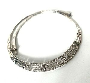 Solid Sterling Silver GREEK KEY CUT & Sparkle Statement Necklace - 16inch