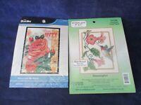 Hummingbird & Rose Counted Cross Stitch Kits Bucilla/Candamar Designs New