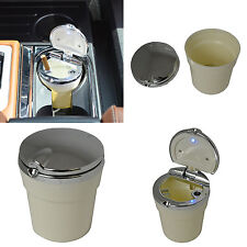 New LED Automotive Cup Holder Ashtray Coin Holder Cigarette Car Truck White