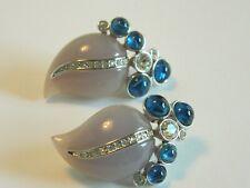 KJL Lavender Leaf Clip Earrings