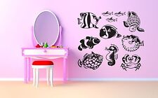 Wall Room Decor Art Vinyl Sticker Mural Decal Ocean Fish Seahorse Turtle SA229