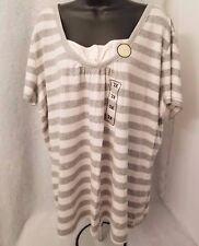 Route 66 NWT Woman's Plus Gray/Cream Striped Layered LOOK Shirt Size 2X