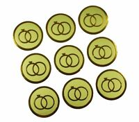 "GOLD Double RINGS Print Wedding Round 1"" Stickers CHOOSE PACKAGE AMOUNT"