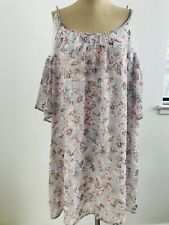 Soprano Women's Top Cold Shoulder Sleeve Floral Lace Blouse Size M