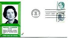 1981 GREAT AMERICANS SERIES 17 CENT RACHEL CARSON SPECTRUM CACHET UNADDR  FDC