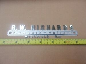 NEW Vintage PLYMOUTH - VALIANT Dealership Nameplate R.W. RICHARDS Millville NJ