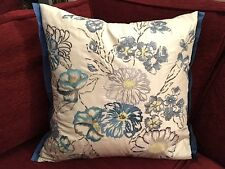 DESIGNERS GUILD CUSHION COVER OPHELIA  COBALT DELFT BLUE EMBROIDERED SILK 18X18""