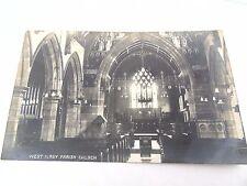 ANTIQUE 1914 REAL PHOTO WEST KIRBY PARISH CHURCH INTERIOR WIRRAL CARD  POSTCARD