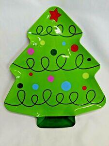 Christmas Tree Tray Server Platter Green Melamine Plate Decor Dessert Serving