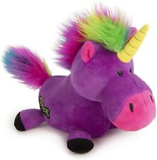 goDog Unicorns Durable Unicorn Plush Dog Toy Purple Large rainbow haired 1 pack