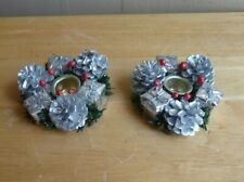 """2 - Vintage Christmas Candle Holder Wreaths Silver Pine Cones 4"""""""
