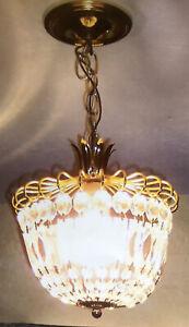Vintage Brass Schonbek Chandelier Swarovski  Glass Crystals 24 Strands Of 5