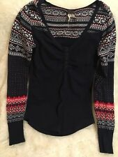 Free People Top Navy Holiday Print Cotton Sweater S Euc Knit Shirt