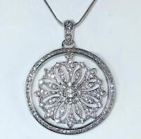 Crystal Pendant Necklace Brilliant Art Deco Bali Filigree Round Rhodium Silver