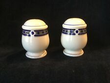 Salt and Pepper Shakers ~ Made in Malaysia ~ Cream With Blue Trim ~ Excellent