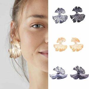 Gold Grey Leaf Style Statement Drop Design Earrings Studs Boho Ear Jewellery