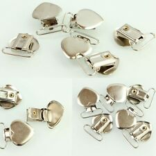 10 Pcs Heart Shape Insert Pacifier Metal Holder Suspender Clips Mitten For Craft