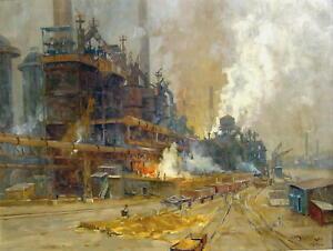 Erich Mercker 1891 - München / Eisenhütte an der Ruhr / Industriegemälde / 1930