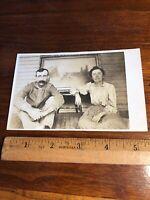 Vintage AZO Real Photo Postcard RPPC Couple Man With Mustache