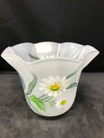 """Vintage Hand Painted Art Glass Lamp Shade France Daisy Floral 2 5/8"""" Inch Fitter"""