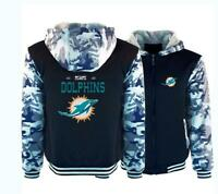 Miami Dolphins Winter Thicken Hoodies Warm Sweatshirts Fleece Hooded Jacket Coat