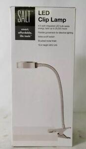 Salt 19 inch Flexible Gooseneck LED Clip Lamp Brushed Nickel S1618-LIT
