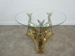 Mid century Modern Brass whippet dog sculpture end table Hollywood Regency hound