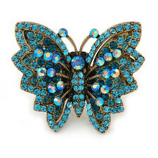 Large Teal/ Light Blue Crystal Butterfly Ring In Gold Tone - Size 7/8 Adjustable