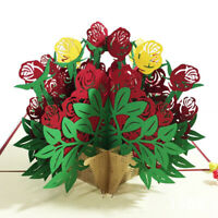 3D Pop-up Rose Flower Paper Greeting Card Valentine's Day Romantic Gift Wide