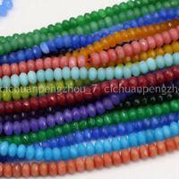 "Natural Jasper Faceted Rondelle Gemstone Jade Spacer Craft Loose Beads 5x8mm 15"""