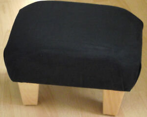 Superb new black faux suede small footstool light solid wood legs foot stool uk