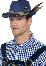 Fancy Authentic Bavarian Oktoberfest Hat, Blue, Fit for Halloween, with Feather