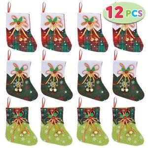 JOYIN 12 pcs Mini Christmas Stocking with Jingle Bells 1738 ''