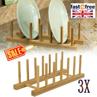 New Bamboo Wooden Dish Drainer Plate Cup Rack Sink Tidy Easy Storage Drier UK
