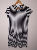 Skin and Threads Women's T Shirt Dress Striped Lounge Wear Blue White Size 1/ S