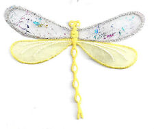 DRAGONFLY CONFETTI LAYERED YELLOW IRON ON APPLIQUE