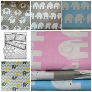 Fabric Nursery Kids Baby 100% COTTON Material Boy Girl elephants 160 cm wide