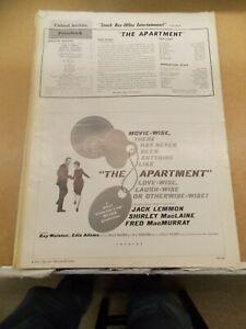THE APARTMENT(1960)JACK LEMMON 2 DIFFERENT ORIGINAL PRESSBOOKS NICE!