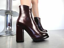 CQ COUTURE ANKLE HIGH BIKER HEELS BOOTS STIEFEL STIVALI LEATHER RED BORDEAUX 44
