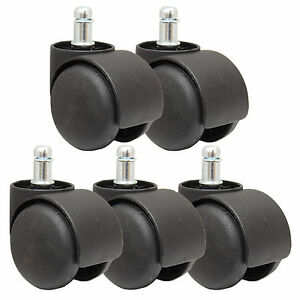 5 New Black Replacement Castor Wheels Computer Office Chair Caster 50mm 11mm