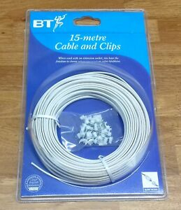 BT Telephone Cable CW1308 2 Pair 4 Wire White Internal Phone Cable and Clips 15m